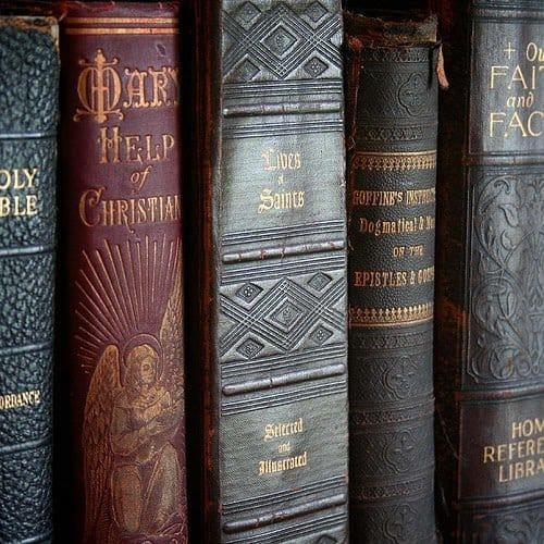 Catholic books in a row