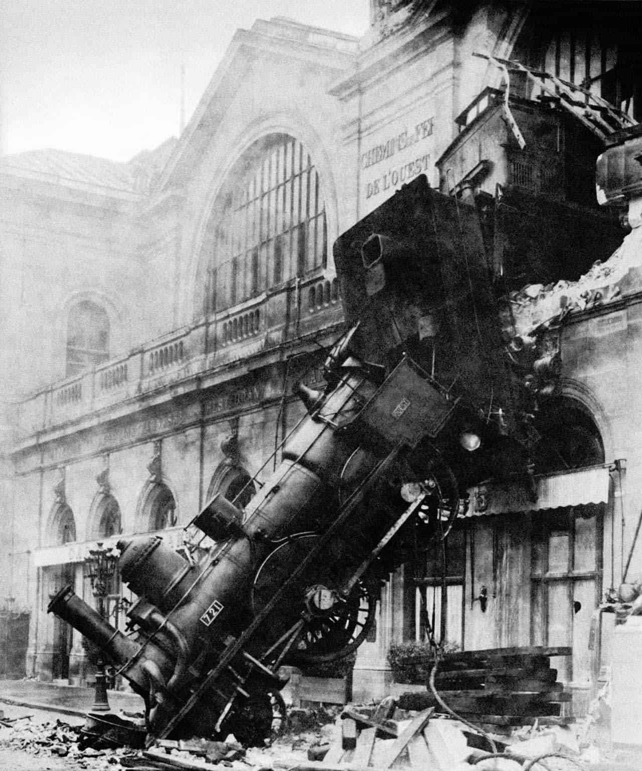black and white photo of a failure, a train wreck