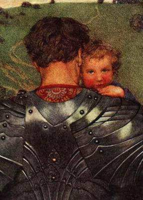 man dressed in armor holding a child
