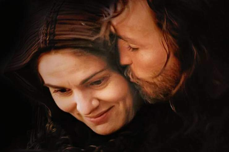 "Photo of Jesus kissing his Mother Mary from the movie ""The Passion of the Christ"""