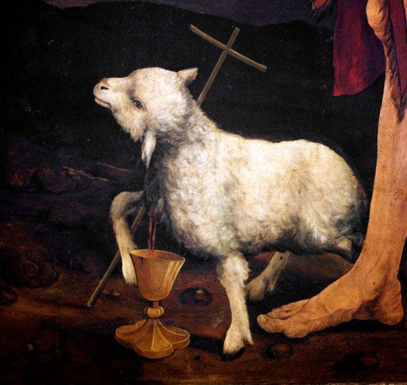 The Lamb of God with a cross and a chalice