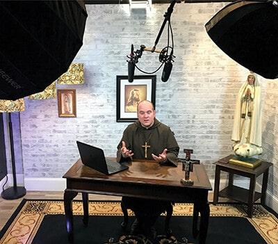 Br. Michael recording Litany of Loreto video series